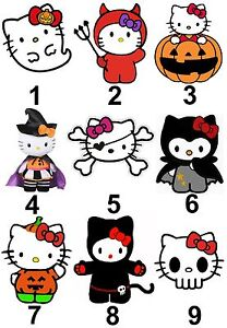 Hello Kitty Halloween Small Or Large Sticky White Paper Stickers Labels New Ebay