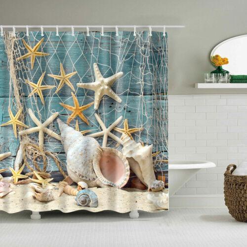Shower Curtain Theme Beach Ocean Sea Shell Starfish Fishing Nets  Bathroom Decor