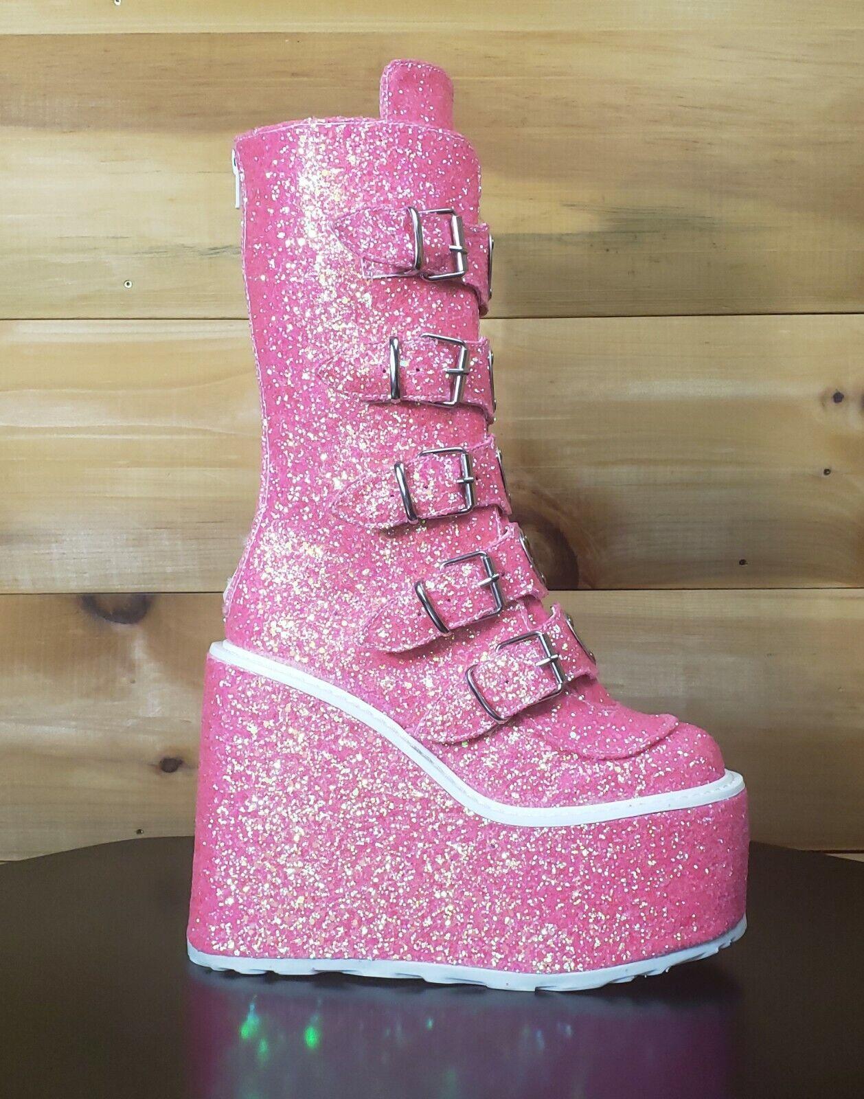 Swing 230G Pink Glitter Boot 5.5  Platform Heart Strap Design Goth Size 12