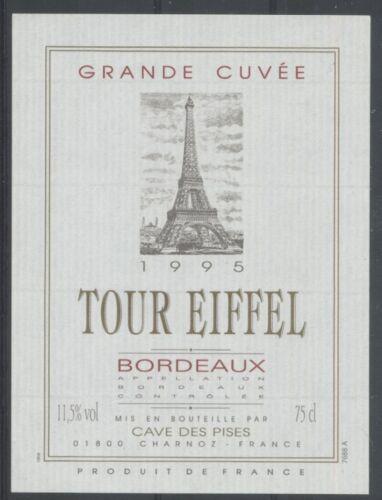 THEME TOUR EIFFEL étiquette de vin de BORDEAUX de 1995