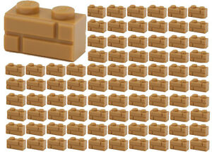 100x-NEW-LEGO-1x2-MEDIUM-DARK-FLESH-Modified-Masonry-Profile-Bricks-98283-BULK