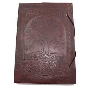 Lederbuch-XL-Kladde-Notizbuch-Tagebuch-Buch-Tree-Of-Life-Leder-Indien-26-x-19cm