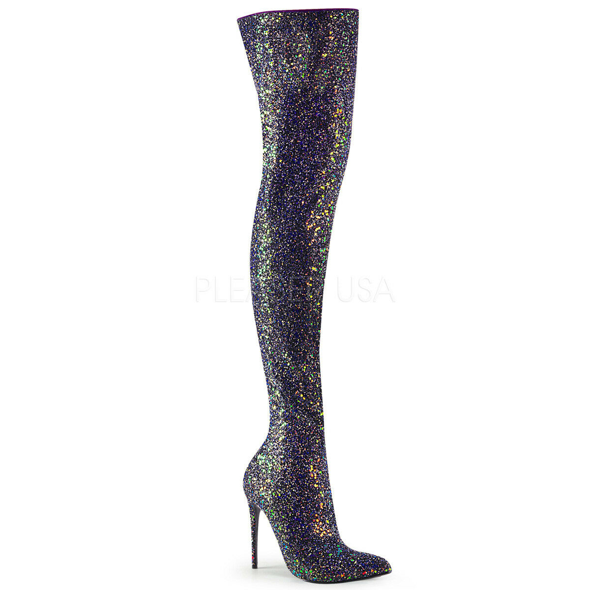 PLEASER COURTLY-3015 Women's Sexy 5  Heel Black Glitter Shimmer Thigh High Boots