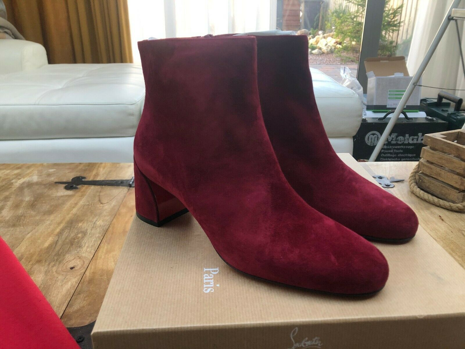 Christian Louboutin Red Turela 55MM Ankle Boots New