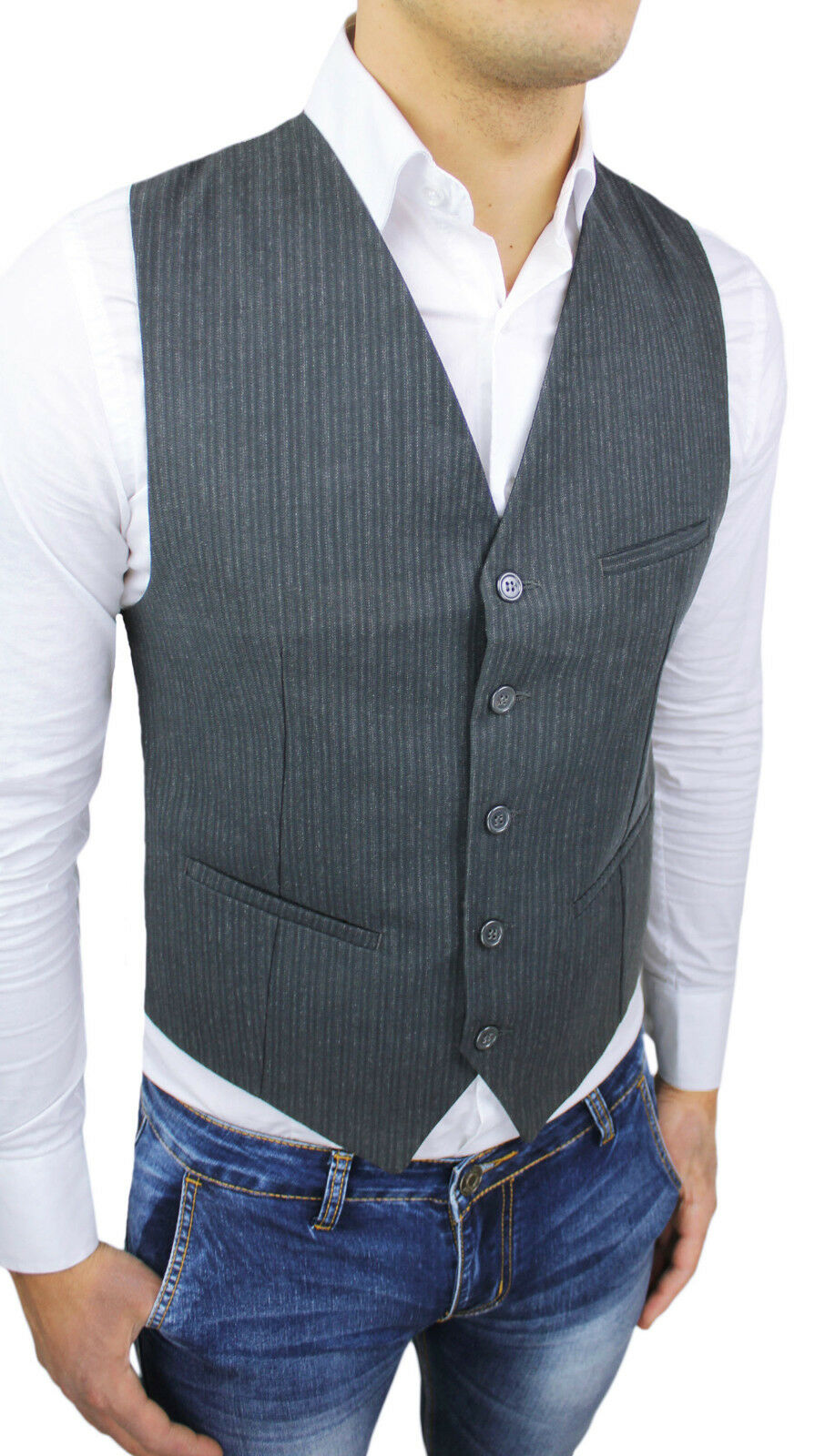 SLEEVELESS MAN ALESSANDRO GILLES WINTER GREY CASUAL VEST FANTASY STRIPED