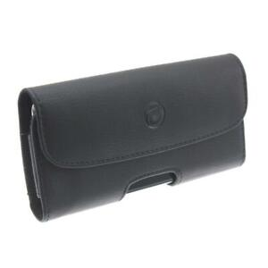 BLACK HORIZONTAL PROTECT LEATHER CASE SIDE COVER POUCH BELT CLIP for SMARTPHONES