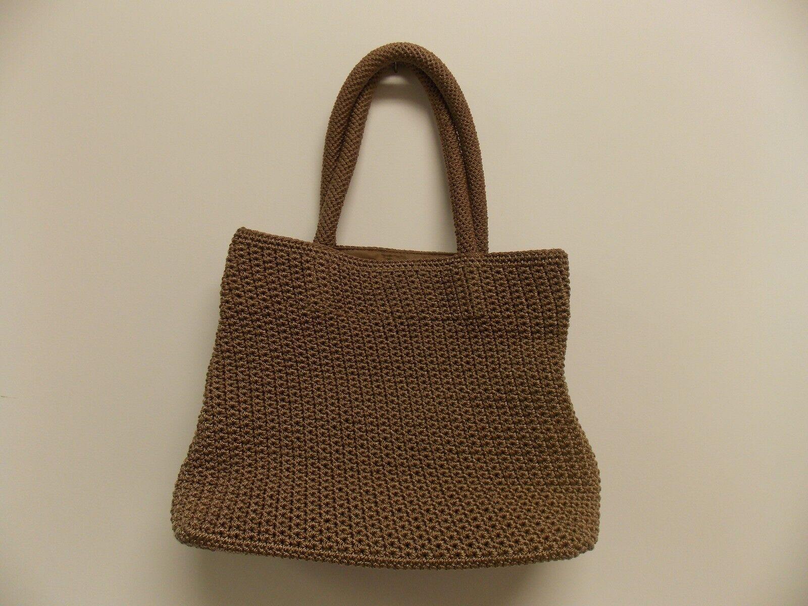 TALBOTS Handbag Purse Tote Beige Knitted Nylon Lined