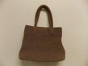 TALBOTS-Handbag-Purse-Tote-Beige-Knitted-Nylon-Lined