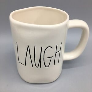 Rae-Dunn-LAUGH-Coffee-Mug-Original-Big-M-Stamp-Logo-Magenta-LL-Farmhouse-NEW