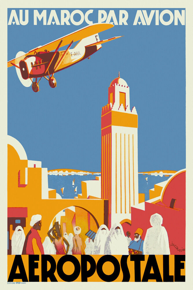 vintage art deco travel poster casablanca morocco 1930s biplane casbah arabian ebay. Black Bedroom Furniture Sets. Home Design Ideas