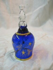 Bohemia Glass Czechoslovakia Blue /& Gold Bell