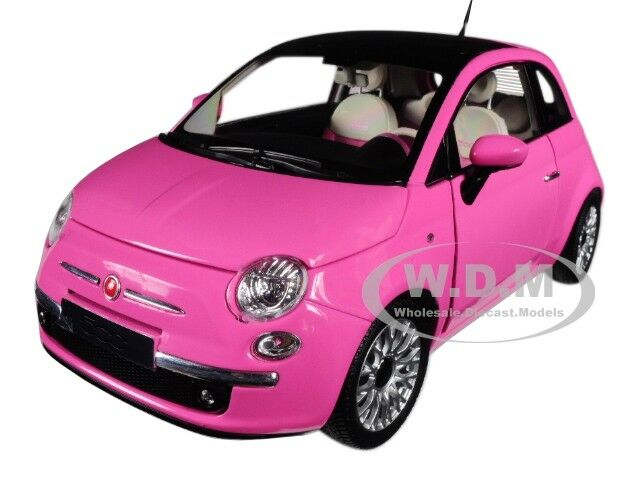 2010 Fiat 500c Pink Cabrio 1 18 Diecast Model Car By Norev 187752