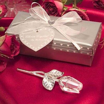 1 Choice Crystal Long Stem Rose Wedding Favor Valentine's Day Shower Glass