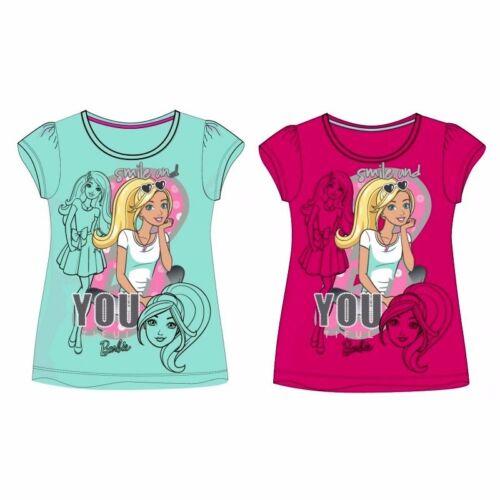 Barbie Mädchen kurzarm Shirt 104 110 116 122 128 134 T-Shirt Puppe Mattel Sommer