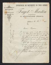"""MONTHELON (51) BATIMENT & MATERIAUX de CONSTRUCTION """"J. FAGOT & MARTIN"""" en 1913"""