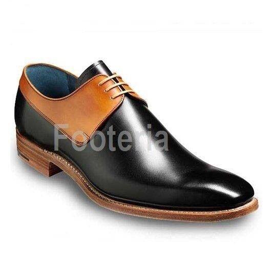 Handmade men two tone schuhe, men schwarz schwarz schwarz and Tan leather schuhe, dress schuhe men f1120f