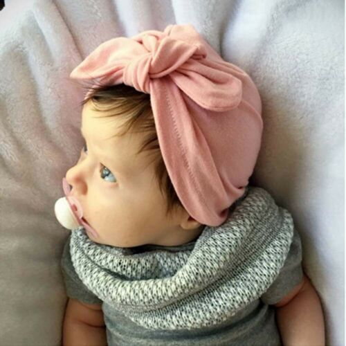Baby Girl Bow Beanie Milk Fiber  Adjustable Comfy Turban Cap Hat Gift/'