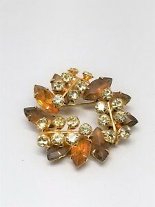 Topaz-Color-Rhinestones-and-Clear-Rhinestones-Gorgeous-Vintage-Pin-Brooch