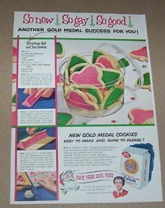 Details About 1954 Print Ad Gold Medal Flour Santa Betty Crocker Christmas Cookies Recipe