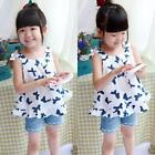 2-7Y Summer Baby Kid Girl Butterfly Pattern Casual T-shirt Tutu Dress Beach Tops