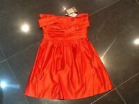 NWT Juicy Couture New & Gen. Ladies Red Satin Evening Dress Size 8 US (UK 12/14)