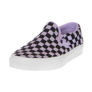 4080d28338 Vans Sneakers Classic Slip-On (Furry Checked) Pastel Lilac Black ...