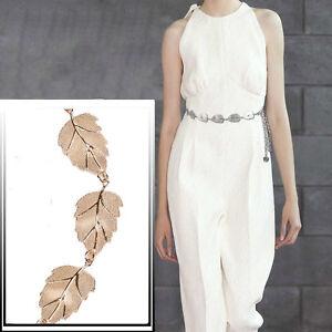 Women-039-s-Lady-Ceintures-Fashion-Feuilles-Metal-Style-Ceinture-Body-chaine-robe-taille-ceintures