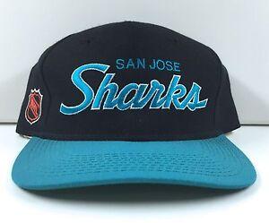b61527e806d Image is loading Vintage-San-Jose-Sharks-SPORTS-SPECIALTIES-Script-Snapback-