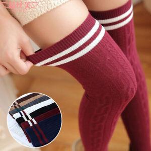 Women-039-s-Girl-Stripe-Stripy-Striped-Over-The-Knee-Thigh-High-Stockings-Long-Socks