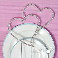 1 piece Silver Rhinestone Diamante Double Heart Monogram Wedding Cake Topper h03