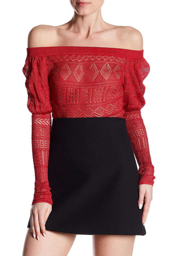 Ronny Kobo Womens Dolores Off The Shoulder Bodysuit Long Sleeve Red Size XS