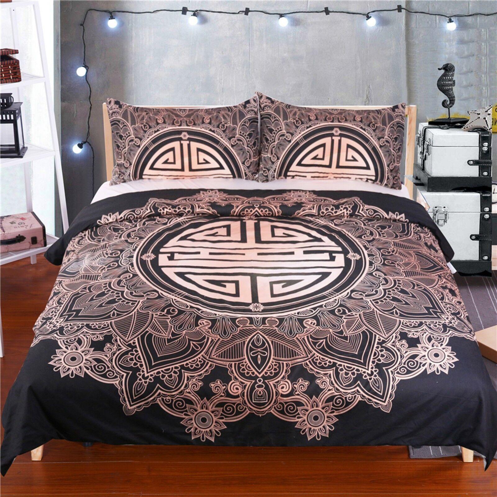 3D Retro Pattern 407 Bed Pillowcases Quilt Duvet Cover Set Single Queen CA