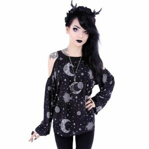 Restyle-Hippie-Moon-amp-Sun-Symbols-Magic-Occult-Witch-NuGoth-Blouse-Top