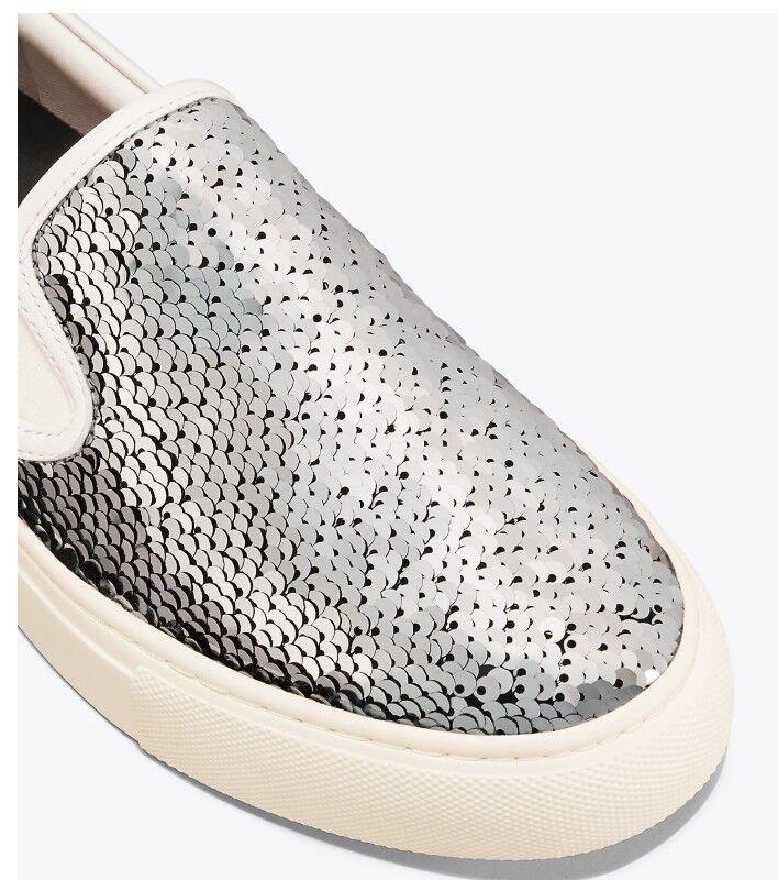 BNIB TORY BURCH Carter SlipOn Sneaker Sneaker Sneaker silver snow white SZ 8 MSRP  258 b3f063