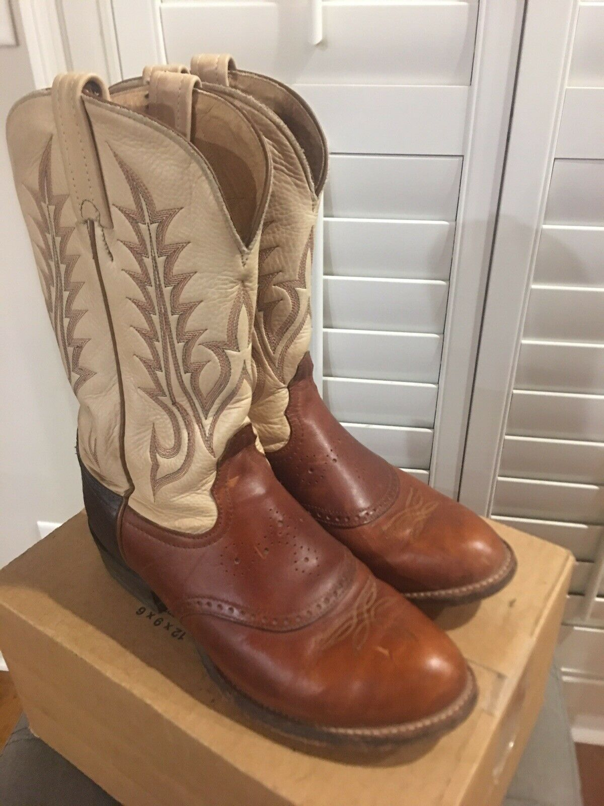 Tony Lama Donne  65533;s Tri -Coloree Leather Western stivali 7B  liquidazione