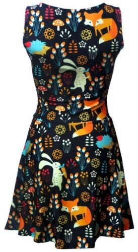 Rabbit Hedgehog Animal Nature Jungle Print Skater Flare Dress Cute Floral Fox