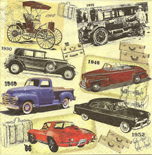4 Single Paper Napkins for Decoupage Classic Cars Vintage