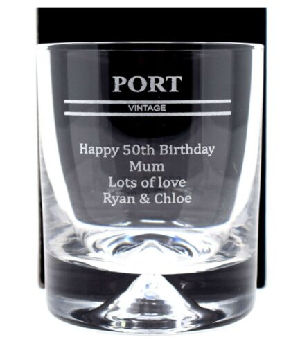 Personalised//Engraved *PORT* Dimple Glass Tumbler Gift 40th//50th//60th//Birthday