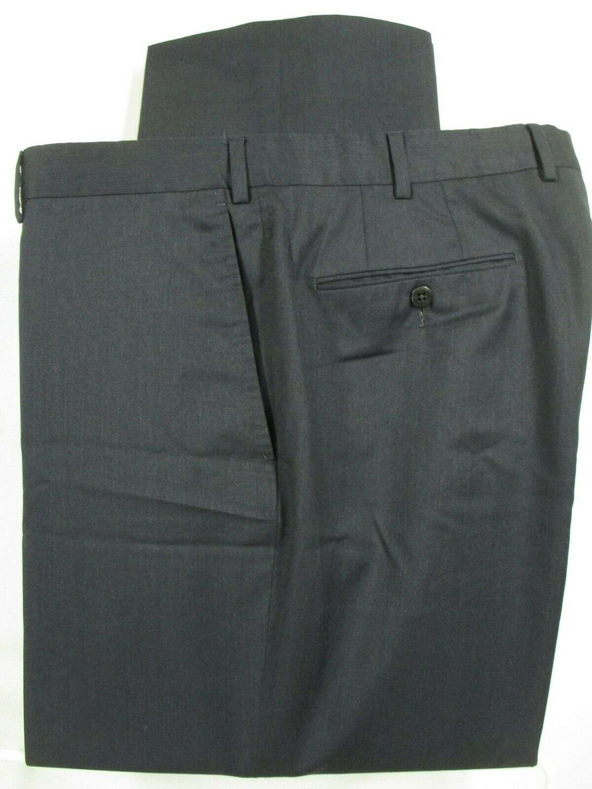 Ermenegildo Zegna Mens Charcoal Flat Front Wool Dress Pants 37x27.5 Recent
