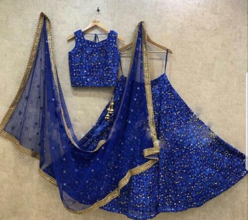 INDIAN TISHU NET GREY BLUE SEQUENCE LEHENGA WEDDING LENGHA PARTY LEHENGA CHOLI