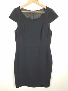 Portmans Status Black Corporate Business Workwear Dress Women's Sz 14 Cap Sleeve