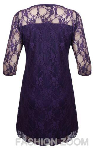 WOMENS PLUS SIZE 3//4 SLEEVE FLORAL LACE PONTE DRESS EVENING PARTY DRESS 14-28