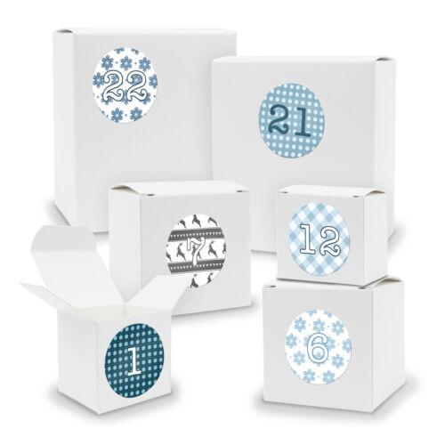 Sticker V01 Z05 Adventskalender zum Füllen 24x Quader Würfel gemischt WEISS