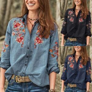 Mode-Femme-Chemise-Simple-Broderie-Floral-Manche-Longue-Revers-Haut-Tops-Plus