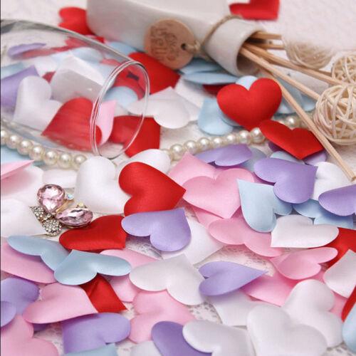 100 Stk Herzform gefüttert Stoff werfende Blumenblätter Liebe Tisch Hochzei P5W7