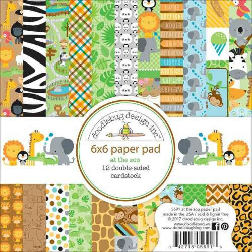 "Doodlebug Double-Sided Paper Pad 6/""X6/"" 24//Pkg At The Zoo 842715056916"