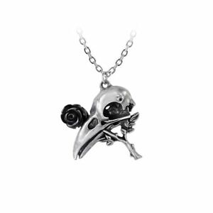 Alchemy-Gothic-Quietus-Rose-Raven-Skull-Black-Resin-Rose-Pewter-Pendant-On-Chain
