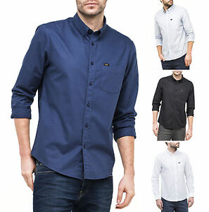 2fea009131 LEE Long Sleeve Button Down Shirt New Mens Slim Fit Plain Casual ...