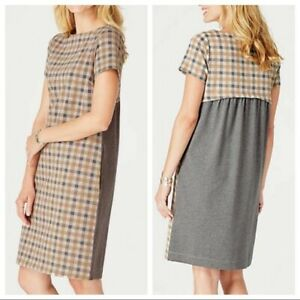 J-Jill-Camel-Colored-Plaid-Dress-L-NEW