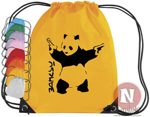 Banksy-panda-kit-de-sports-Sac-Cordon-EPS-ecole-books-equipment-clubs